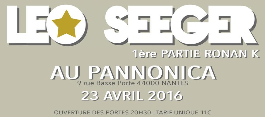 Leo Seeger + Ronan K  le 23/04/2016 à 20:30 au Pannonica Nantes